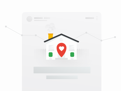 Stay Home uidesign pin home google ui abstract chimney fence activity map heart house stayhome illustration