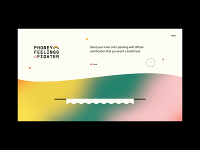 Phoney Feelings Fighter envelope motion ui ux certificate interaction product design aftereffects web design uxdesign animation web ux xd mental health gradient rainbow lisa frank