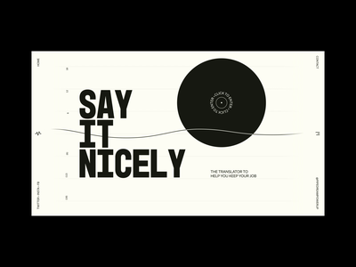 Say It Nicely sound wave mouse animation page transition black and white work life balance text input translate after effects xd animation web design