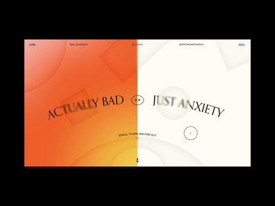 Real or Anxiety frosted glass hell gradient wheel spin scroll animation anxiety mental health xd after effects web design animation