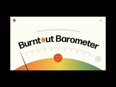 Burntout Barometer fire measurement measure meter burn flame gradient interaction mental health after effects ui xd web design animation