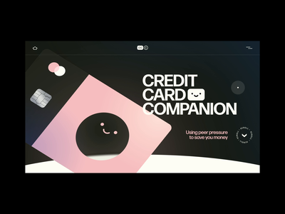 Credit Card Companion splurge frosted glass purchase smiley face money budget credit card finance scroll animation after effects xd web design animation