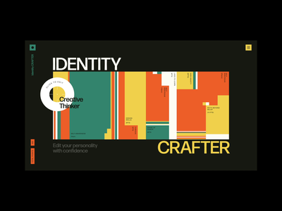 Identity Crafter blocks editor page transition wipe distort personality points glitch pattern interaction after effects xd web design animation