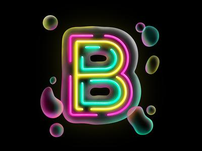 Bubbly glow drop cap type lettering bubbles neon