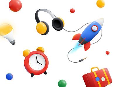 Marbles marble rocket headphones clocks google illustration