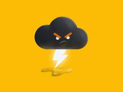 Grumpy. rain grumpy 3d weather cloud yellow illustration lightning thunder