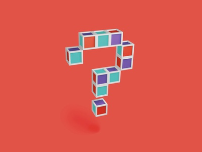 ??? 3d cinema illustration blocks pixels question mark