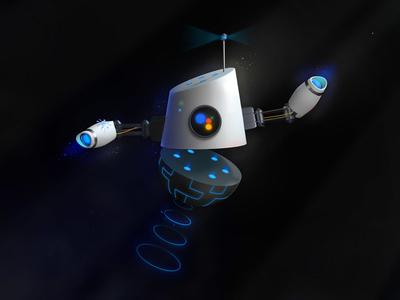 Robot Butler 3d cinema glow hover illustration butler robot