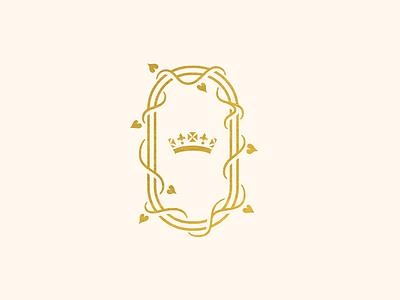 Royal Wedding logo marriage royalty crown ivy wedding