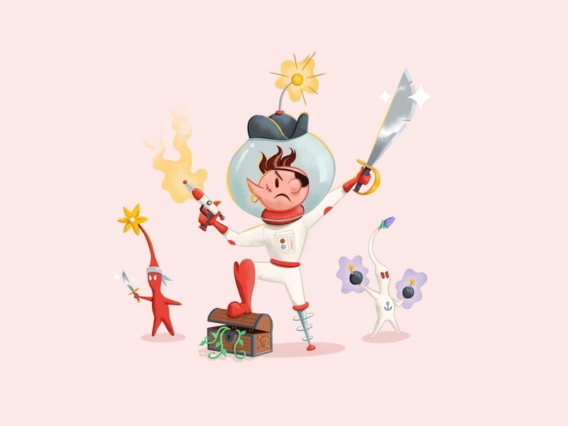 (Space Pirate) Olimar ☠️ treasure chest astronaut peg leg lazer space sword chest smash bros smash olimar illustration