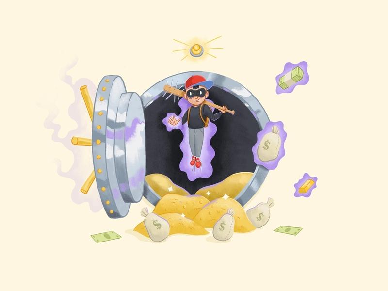 (30 Minutes or) Ness purple yellow procreate 2d flat psychic vault cash bank heist bank robber baseball earthbound ness smash bros smash illustration