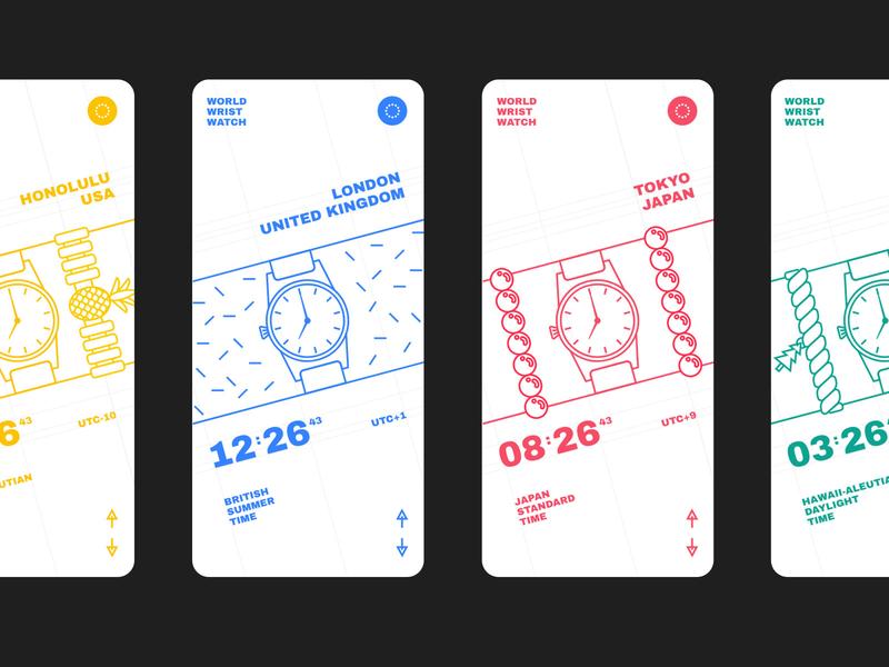 World Clock illustration hawaii london tokyo wristwatch watches clocks product design mobile interactive web design ui