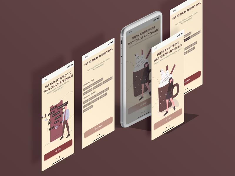 DailyUI 023 online store preferences app onboarding onboarding chocolates vector mobile app app design design dailyui ux ui