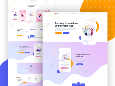 Hygie – Mobile App Landing Page Template web design website template business shopping cart product showcase music app mobile app landing page iphone app games chatbot app website app publisher android app