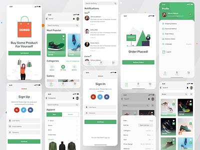 DONGO- E-Commerce App startups illustration app logo online seller buy app concept app ui design apparel online store app application app design ui logo