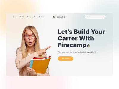 Firecamp- Header Exploration learning management system instructor professional creative business web design online learning landing page startups template website