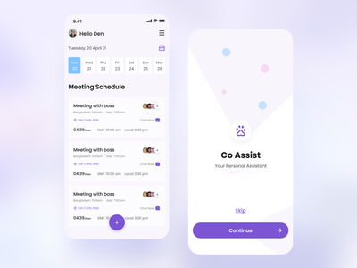 Co Assist-Personal Assistant IOS App. professional startups branding ui logo design business application minimal app daily work schedule add task personal assistant to dos app design