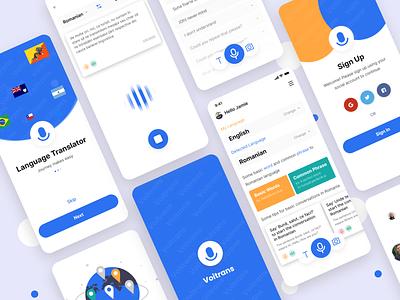 Voitrans- Voice Translation App ux design minimal app app design translator app voice interface voice search voice call voice assistant