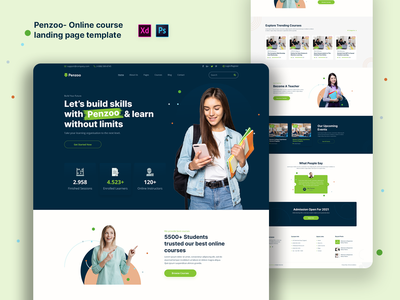 Penzoo - Online course landing page template design instructor learning management system professional business startups landing page online learning platform web design website template