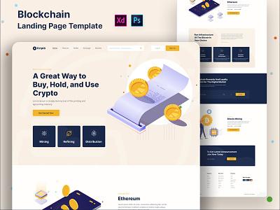 Kripto- Blockchain Landing page template bitcoin landing page digital product blockchain technologies trustworthy