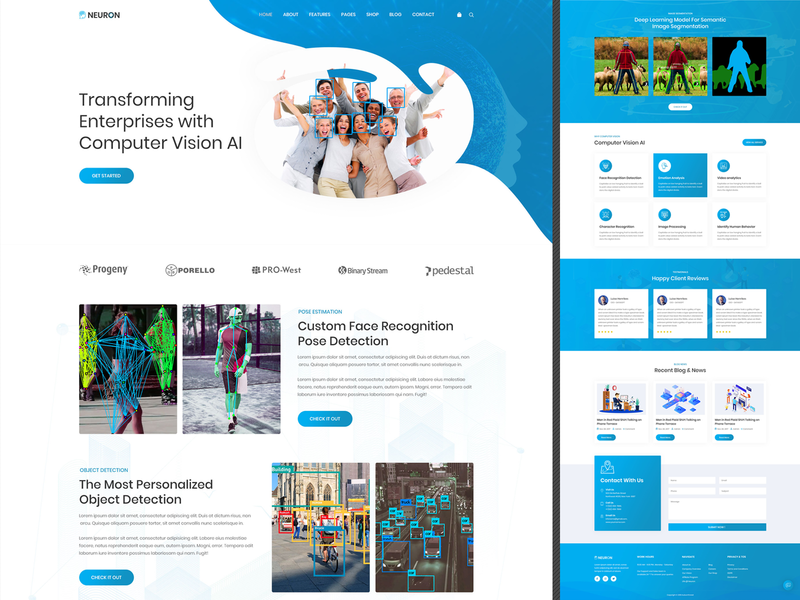 Computer Vision   PSD Template computer vision artificial intelligence ai business startups template website