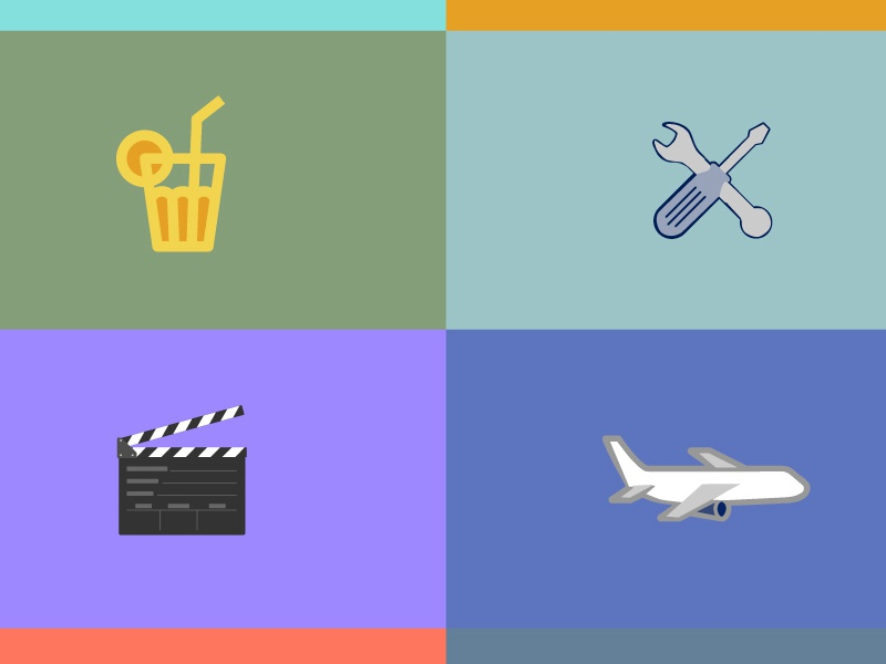 Icons Industries And Organisations Grid icons animation