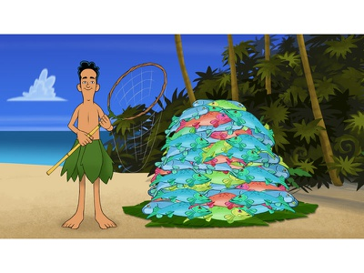"""Able's Catch"" (one of 5 animation stills) animation education fish net island"