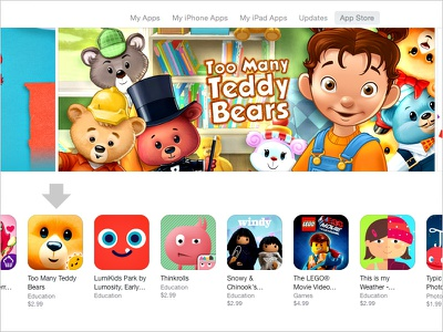 """Too Many Teddy Bears"" by StoryToys app apple store kids teddy bear games early learning illustrations adorable cuddly pre-k"