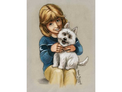 Lily and Duke watercolor sketch drawing illustration book children childrens book