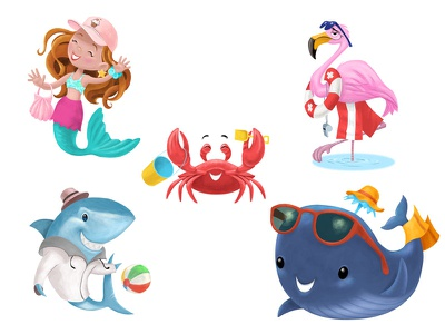 5 Summer Characters flamingo whale crab mermaid shark summer character