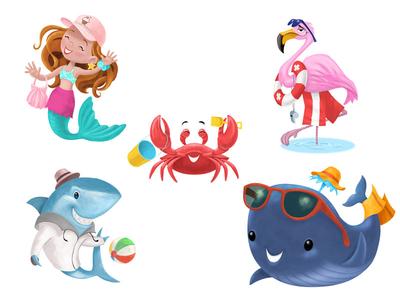 5 Summer Characters flamingo whale crab mermaid shark summer character