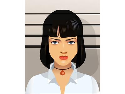 Pulp Fiction Charcater uma umathurman quentin pulpfiction movie celebrity illustratin svg vector portrait illustrator