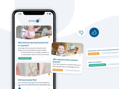 Smart adaptive feed; based on reading behavior uiux cards ui cards user preferences adaptive like button overview list app ehealth mhealth healthcare medcare medical tags articles news feed dislike like