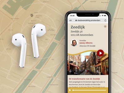 Stadswandeling Amsterdam city historic history mobile ui mobile app app tourist stories storytelling detail page map points sound design ui webapp audio tourism tour city guide amsterdam
