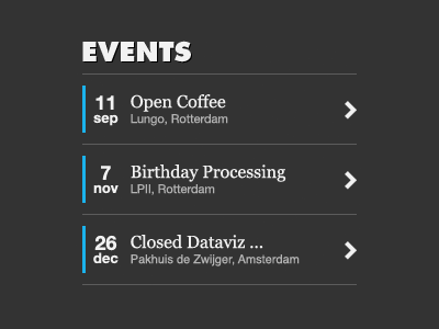 Event list list date dates event events item clean arrow blog mobile flat items serif line lists
