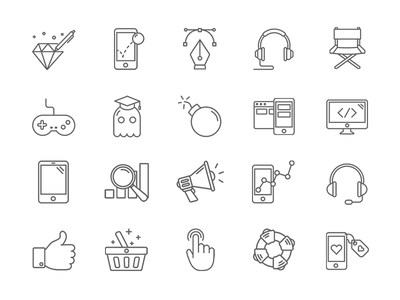 Line art icons development games game set agency firm design icon icons art lines line
