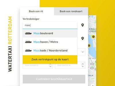 Online reservation tool for Watertaxi Rotterdam popover map dropdown select highlight fill autofill autocomplete form booking reservation online