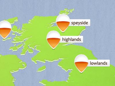 Whisky Map map pin marker whisky whiskey scotland uk sea orange
