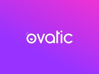 Ovatic ovation standing website web identity magenta pink purple gradient startup app icon type face happy ticketing brand design branding