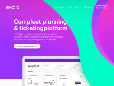 Ovatic homepage website ui interface ticketing branding web homepage