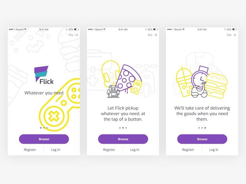 Walkthrough screens for delivery app ui ux kudret projectmind ios dubai food flick delivery app