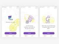 Walkthrough screens for delivery app
