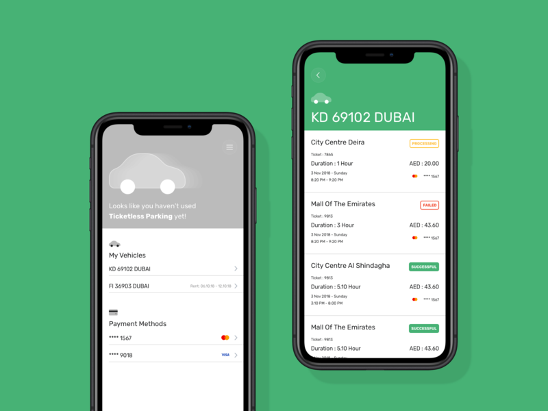 Parking Payment History projectmind kudret ui ux ios parking app ticketless payment simple clean