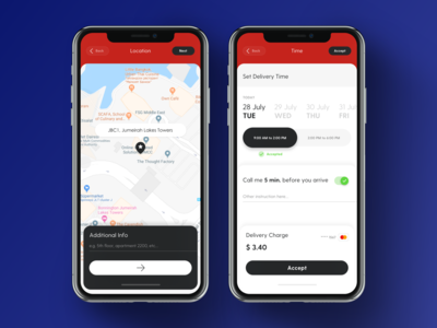 Set Delivery Location And Time App Screen