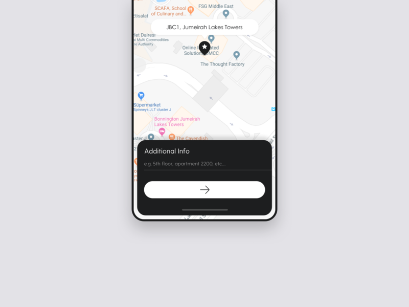 Enters Additional Info For Delivery Location info address map uxdesign userexperience uiux projectmind mobile ui mobile app mobile interface design delivery creative clean courier cards art app design app