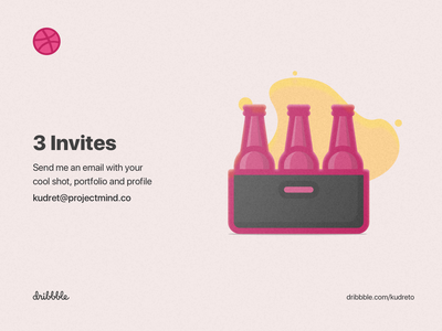 3 Dribbble Invites glossy clean pink icon illustration invites giveaway invites beer bottle 2d 3