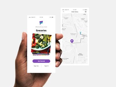 Delivery App graphics food ecommerce cart buy app ui mobile app mobile minimalist minimal millenials ios map grocery delivery grocery app grocery design delivery app delivery