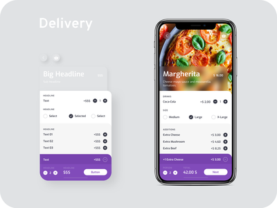 Food Delivery App Module 01 ux ui pizza module mobile interface icon guidelines gui graphics food design system guide design delivery concept cart button app design app