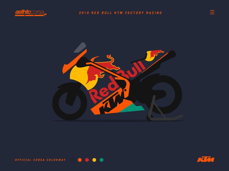 Asthtc Corsa© 2019 Factory Red Bull KTM corsa motorbike motobike motorsport ktm motorcycle bike racing motogp minimal flat design concept