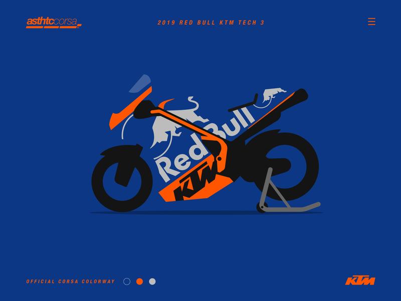 Asthtc Corsa© 2019 Red Bull KTM Tech 3 branding vector illustration 2019 motorsport minimal racing motorcycle motorbike motogp ktm flat design corsa concept bike